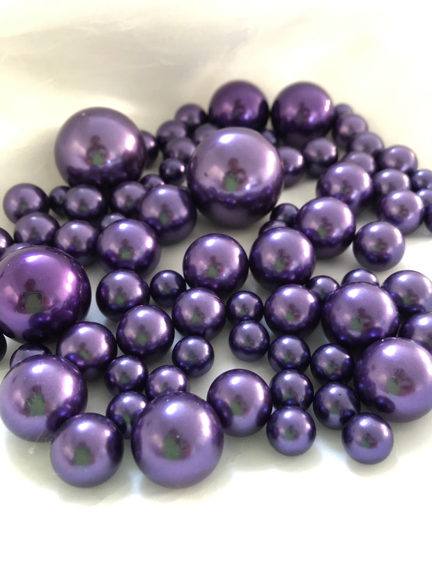 Purple Vase Filler Pearls, Floating Pearl Centerpiece, Table Scatters, No Hole Pearls