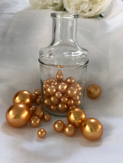 Gold Pearls Vase filler pearls, floating pearl decor, table confetti