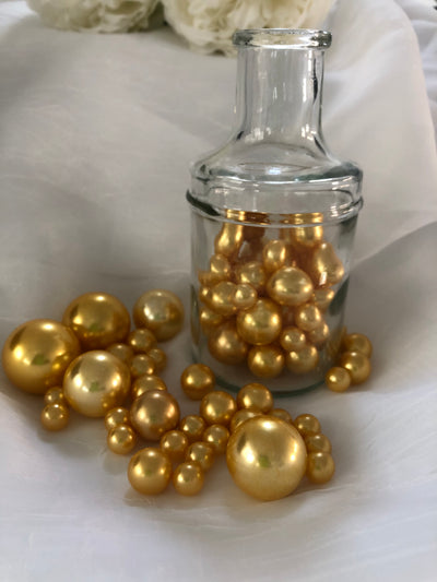 Champagne Gold Vase Filler Pearls, Floating Pearl Centerpiece, Table Scatters