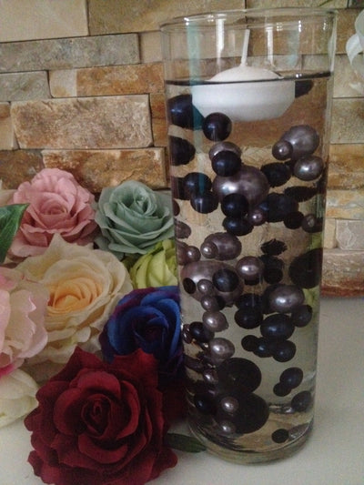 Floating Pearl Centerpiece Vase Filler Pearls Charcoal Black/Gray Pearls 80 Jumbo & Mix Size Pearls