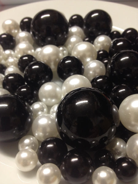 Black And White Pearls, Vase Filler Pearls, DIY Floating Pearl Centerpiece, Table Scatters And Confetti, Jumbo Mix Size Pearls