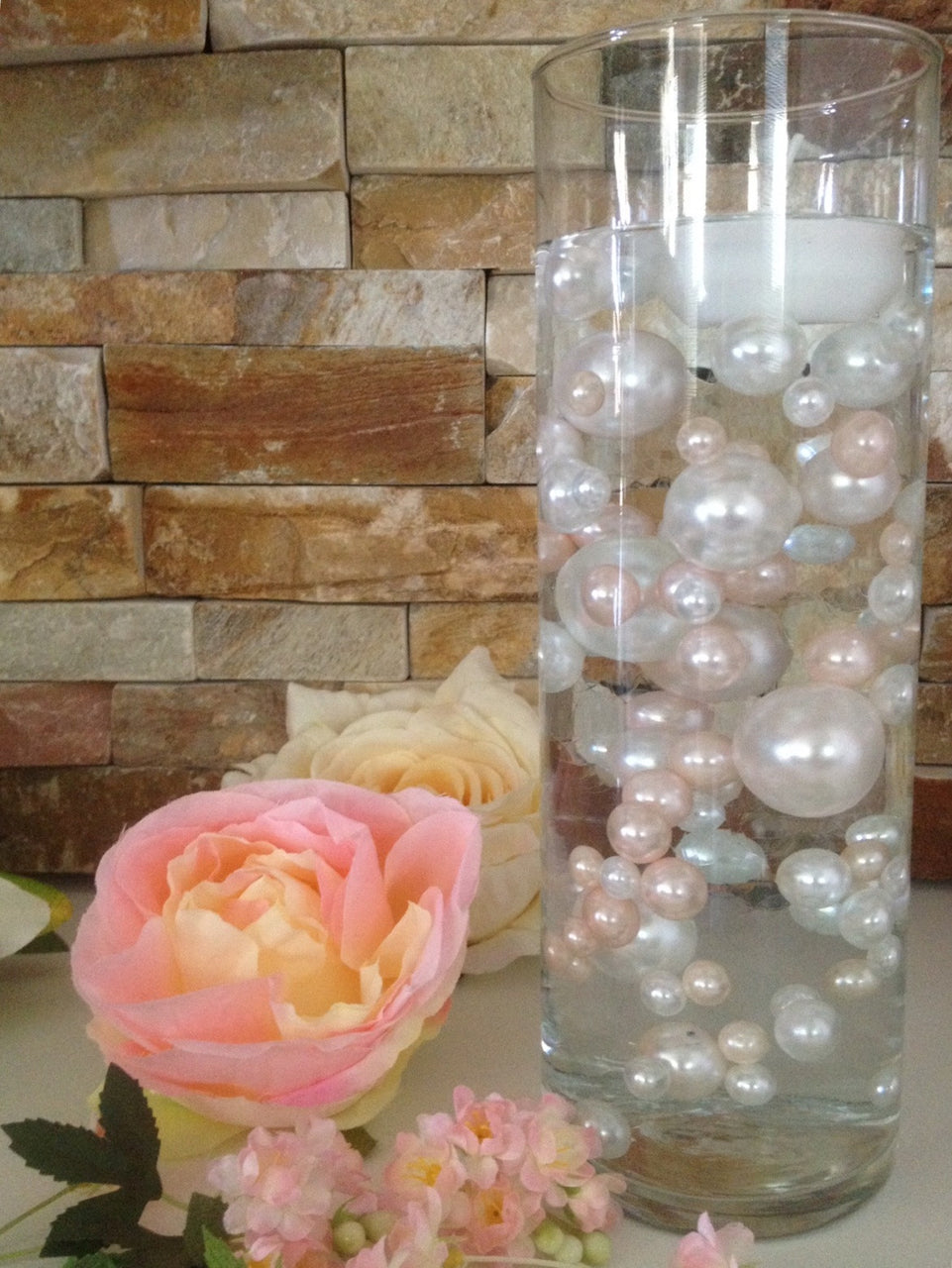 DIY Floating Pearl Centerpiece Vase Filler Pearls Blush/White Pearls 80 Jumbo & Mix Size Pearls, No Hole Pearls