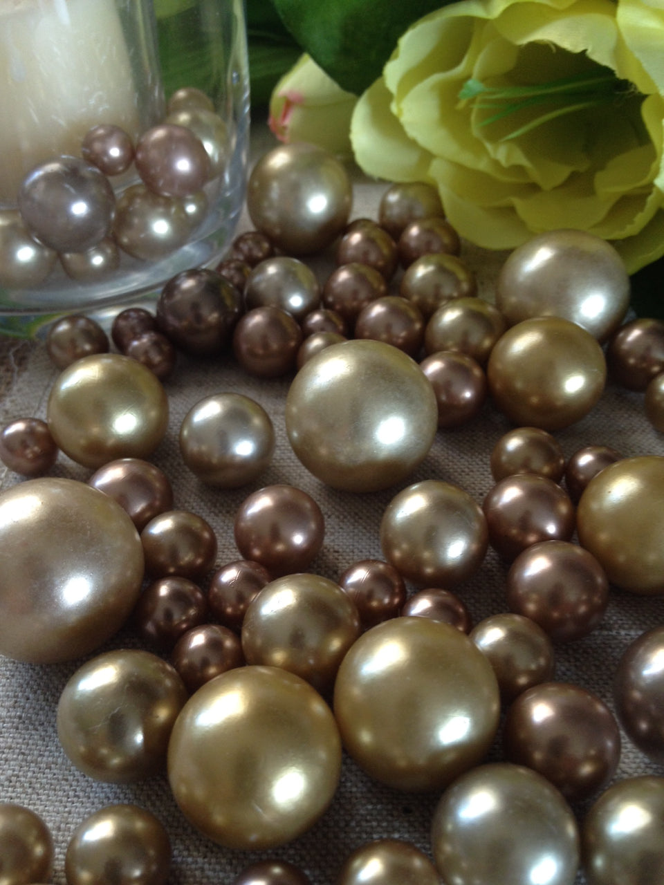 Bronze Copper Gold Wedding Theme Colors, Perfect For Vintage Pearl Table Scatters, Vase Fillers