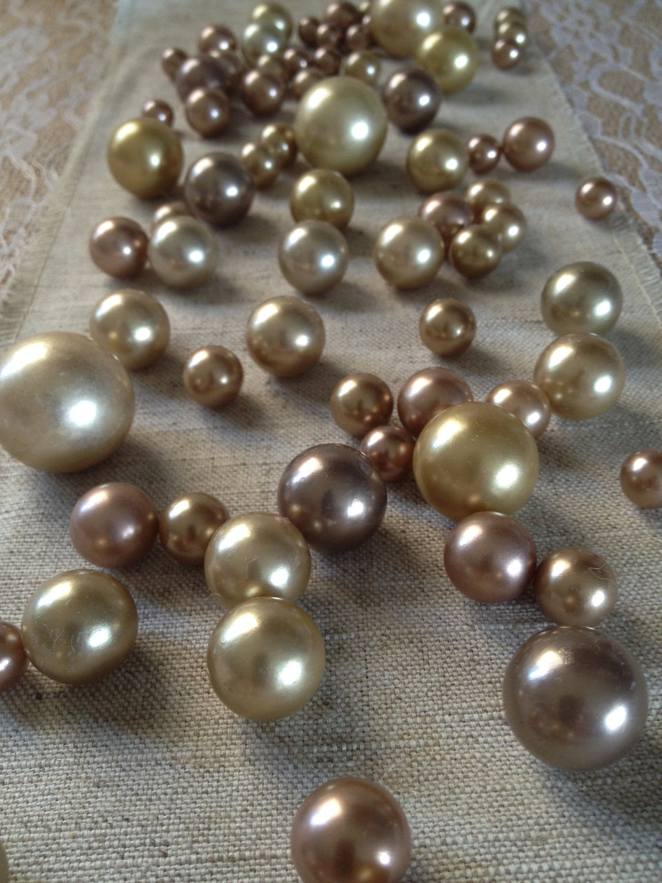 80 Vintage Pearl Table Scatters, Bronze Copper Gold Pearl Colors, Vase Filler Pearls, No Hole Pearls