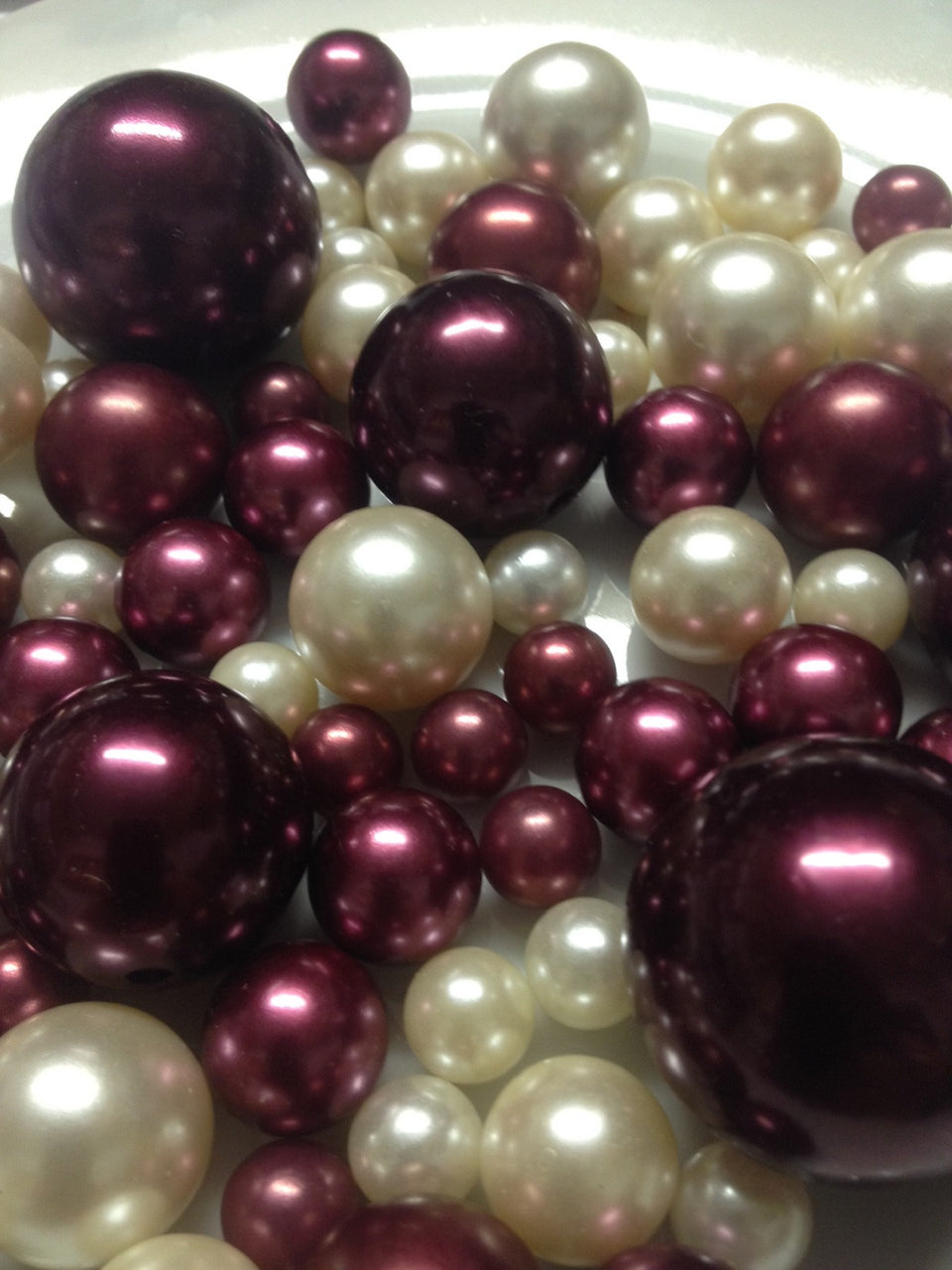 Burgundy And Ivory Pearls, Vase Filler Pearls, Pearl Table Scatters, DIY Floating Pearl Centerpiece, Jumbo Pearls