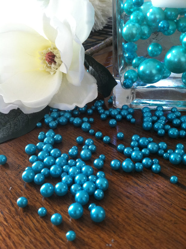 Teal Blue Pearls For Floating Pearl Centerpieces, Jumbo Pearls Vase Fillers, Scatters, Confetti