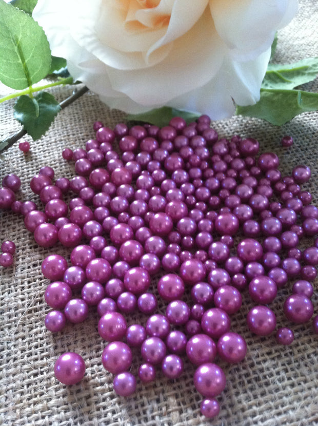 Orchid Pearls Candle Votive Fillers (400pcs) No Hole Pearls Mix Size, Table Scatters