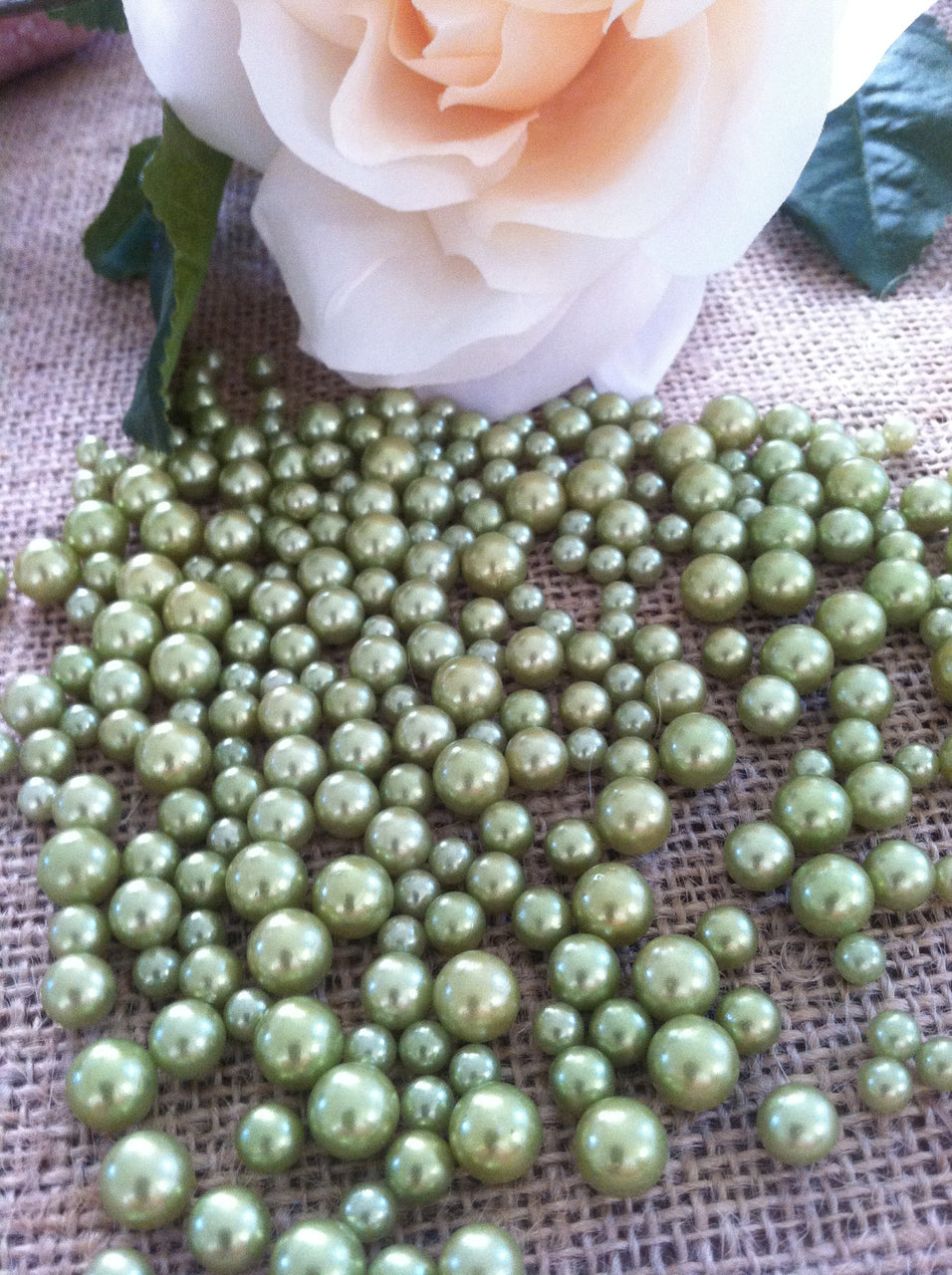 Seafoam Green Pearls Candle Votive Fillers (400pcs) No Hole Pearls Mix Size, Table Scatters