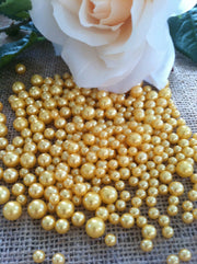 Gold Pearls Candle Votive Fillers (400pcs) No Hole Pearls Mix Size, Table Scatters