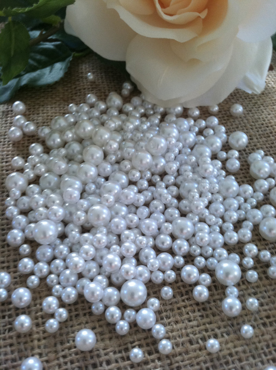 White Pearls Candle Votive Fillers (400pcs) No Hole Pearls Mix Size, Table Scatters