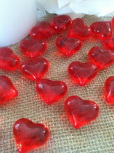 50pc Acrylic Red Heart Shaped Diamond Gems - Table Scatters, Confetti