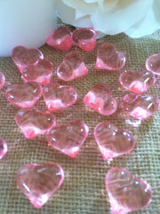 50pc Acrylic Pink Heart Shaped Diamond Gems - Table Scatters, Confetti