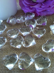 50pc Acrylic Clear Heart Shaped Diamond Gems - Table Scatters, Confetti