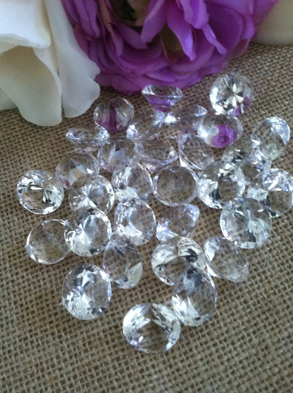 "100 Clear Diamond Confetti 3/4"" Wedding Party Table Decoration Scatter, Vase Filler Gems"