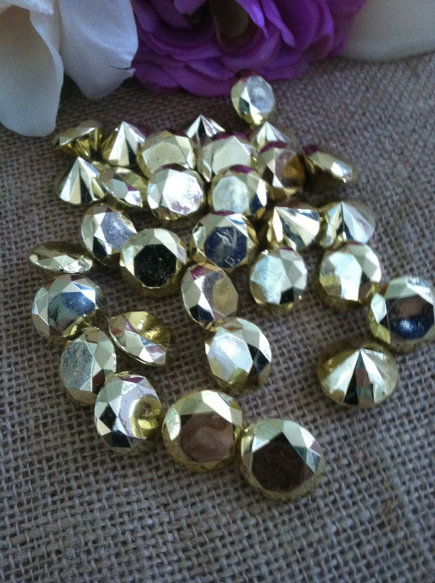 "100 Gold Diamond Confetti 3/4"" Wedding Party Table Decoration Scatter, Vase Filler Gems"