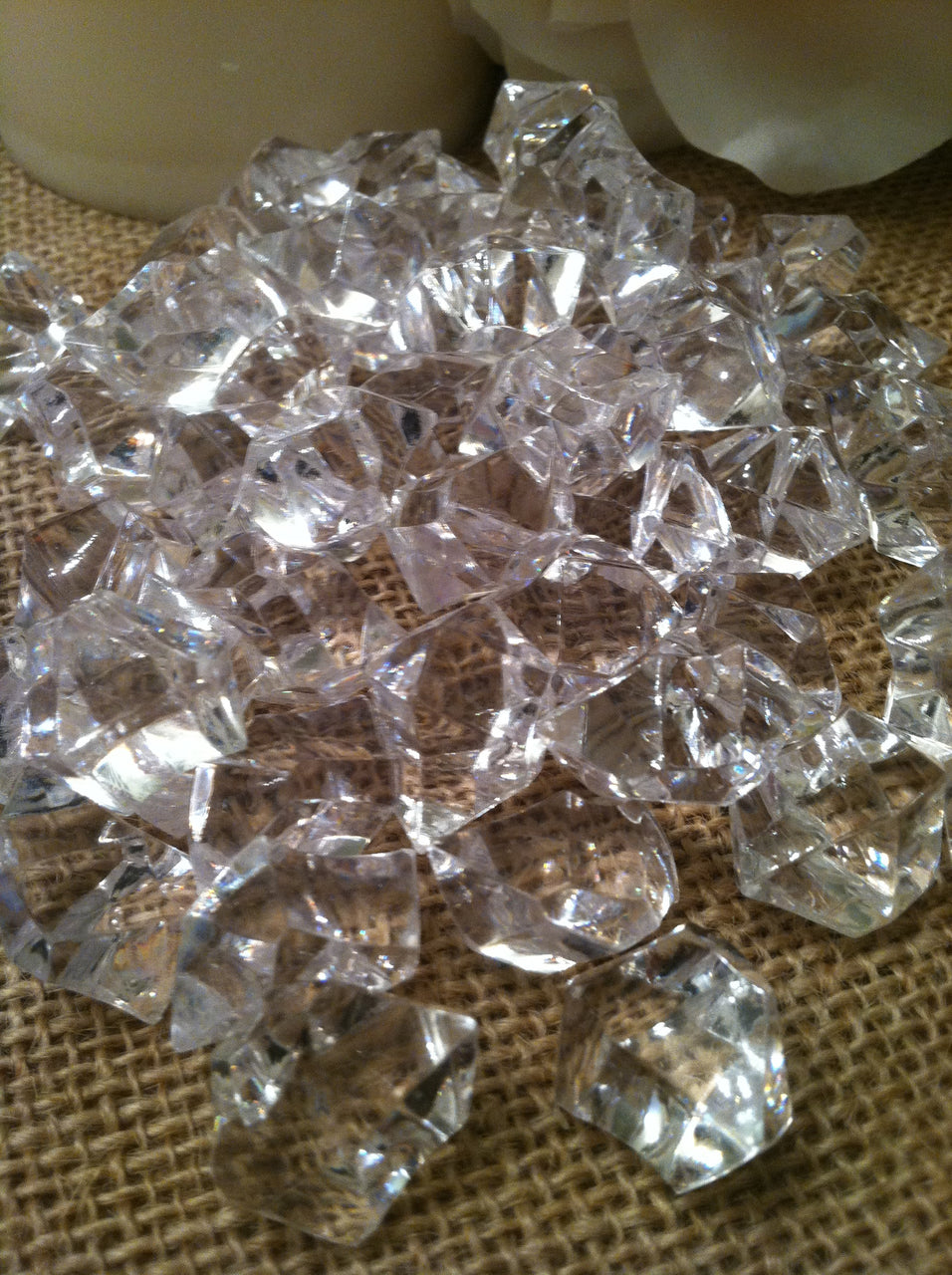 50pc Acrylic Jumbo Diamond Ice Nuggets/Chips Table Scatter-1""