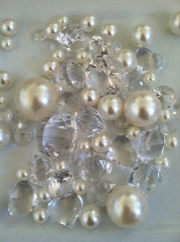 Vase Filler Diamonds, Pearls, Nuggets Gems For Table Scatters, Confetti
