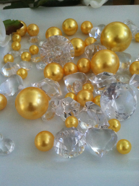 80pc Gold Yellow Pearl & Clear Diamond Gems Table Scatter, Vase Filler Diamonds & Pearls