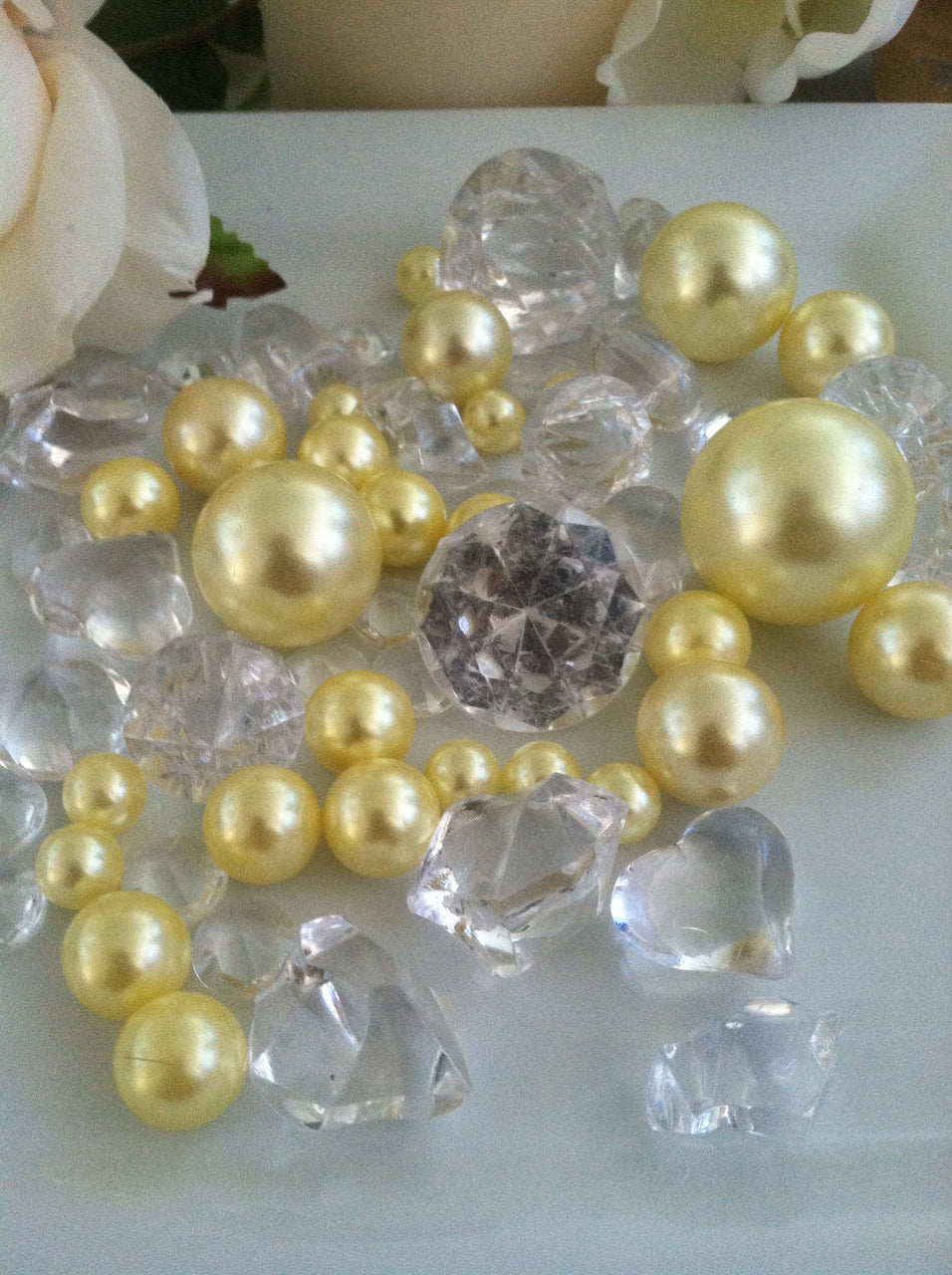 80pc Yellow Pearl & Clear Diamond Gems Table Scatter, Vase Filler Diamonds & Pearls