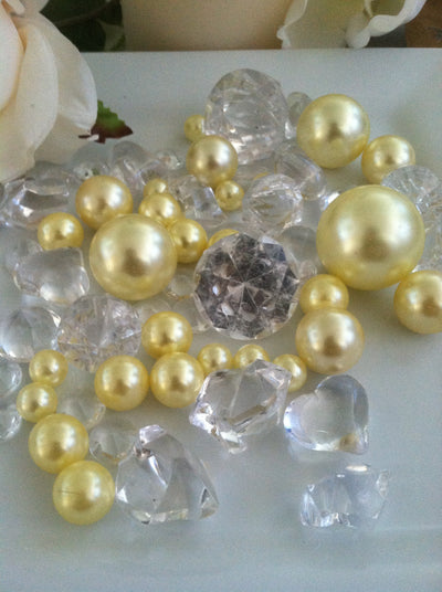 Yellow pearls diamond vase fillers, table scatter confetti, bowl fillers