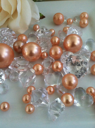 Peach pearls diamonds table confetti scatters, vase fillers, Bowl fillers