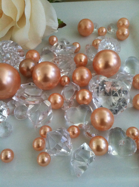 Pearl and Diamond Table Scatter/Confetti, 80pcs Peach Pearls & Clear Diamond Gem Mix, Vase Fillers