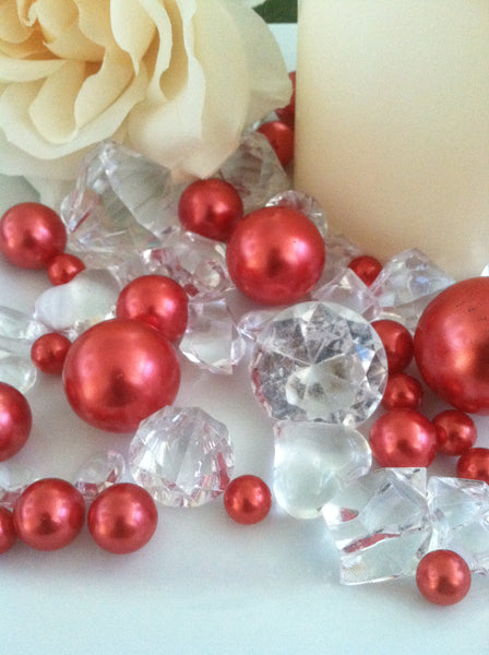 Pearl and Diamond Table Scatter/Confetti, 80pcs Red Pearls & Clear Diamond Gem Mix, Vase Fillers