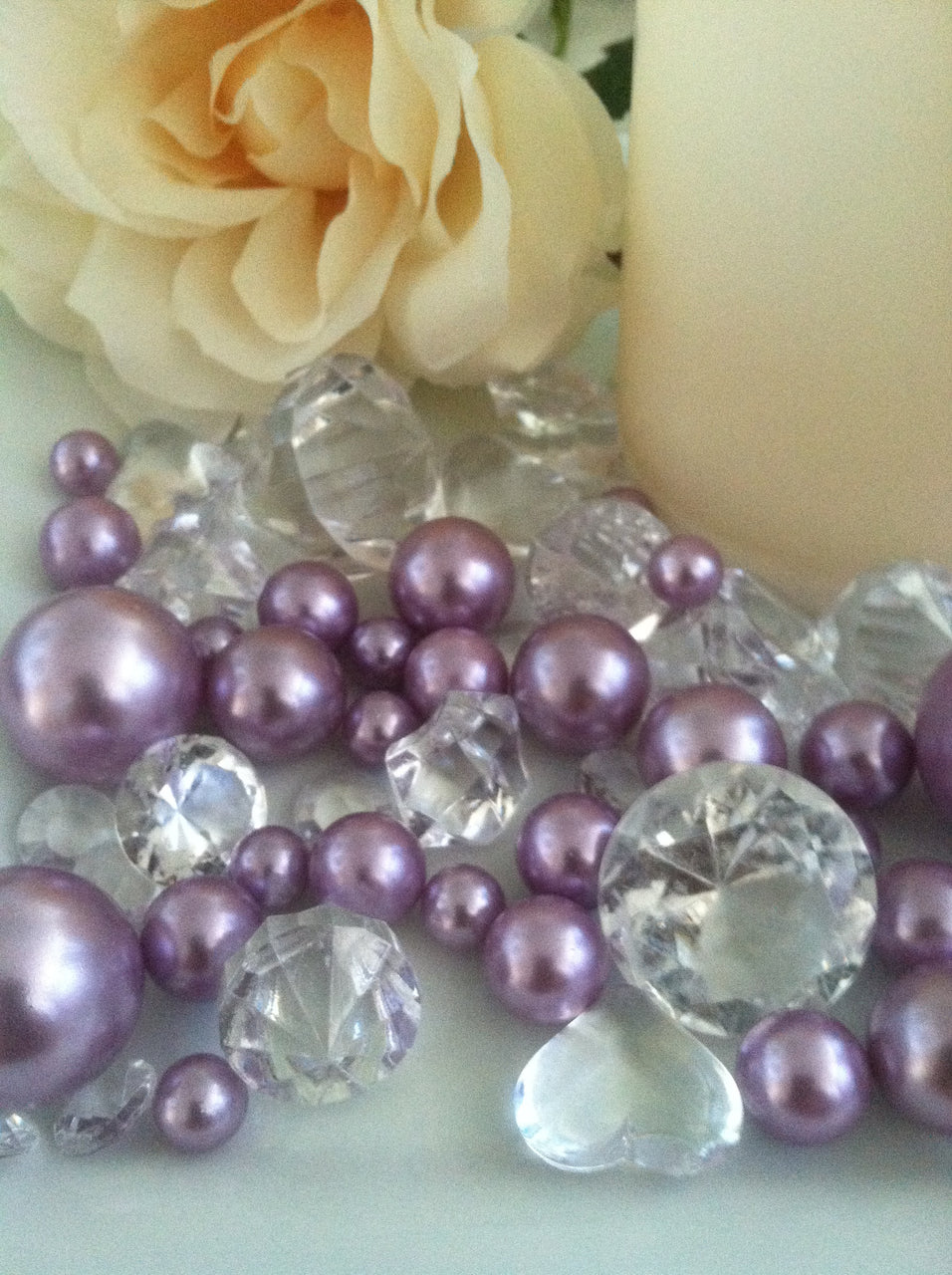 80 Lavendar Pearl & Clear Diamond Gems Table Scatter, Vase Filler Diamonds & Pearls