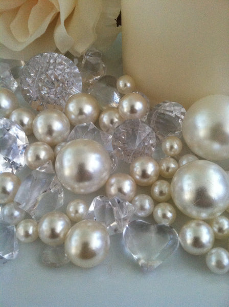 Pearl and Diamond Table Scatter/Confetti, 80pcs Ivory Pearls & Clear Diamond Gem Mix, Vase Fillers