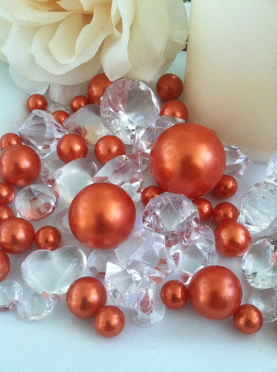 80 Coral Orange Pearl & Clear Diamond Gems Table Scatter, Vase Filler Diamonds & Pearls