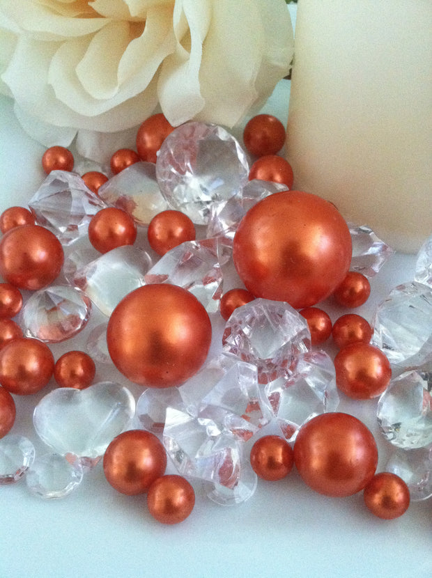 Orange pearls diamond vase fillers, table confetti scatters, bowl fillers