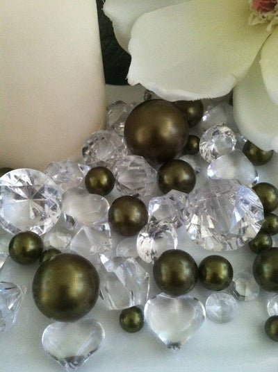 Pearl and Diamond Table Scatter/Confetti, 80pc Sage Green Pearls & Clear Diamond Gem Mix, Vase Fillers