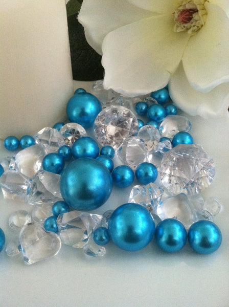 80 Teal Blue Pearl & Clear Diamond Gems Table Scatter, Vase Filler Diamonds & Pearls