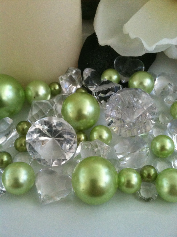 Lime green pearls diamonds vase fillers, table scatter confetti, bowl fillers