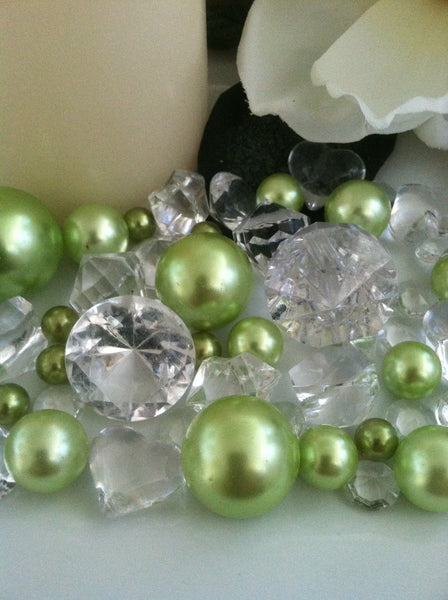 Pearl and Diamond Table Scatter/Confetti, 80pcs Lime Green Pearls & Clear Diamond Gem Mix, Vase Fillers