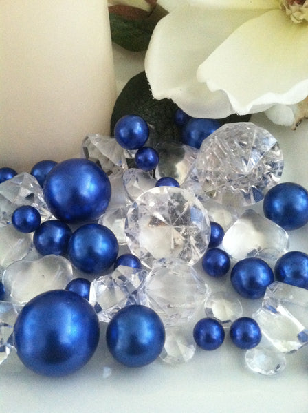 Pearl and Diamond Table Scatter/Confetti, 80pcs Royal Blue Pearls & Clear Diamond Gem Mix, Vase Fillers
