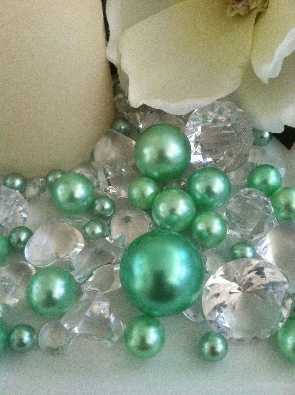80pc Seafoam Green Pearl & Clear Diamond Gems Table Scatter, Vase Filler Diamonds & Pearls