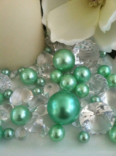 Seafoam green pearls diamond vase fillers, table scatter confetti, bowl fillers
