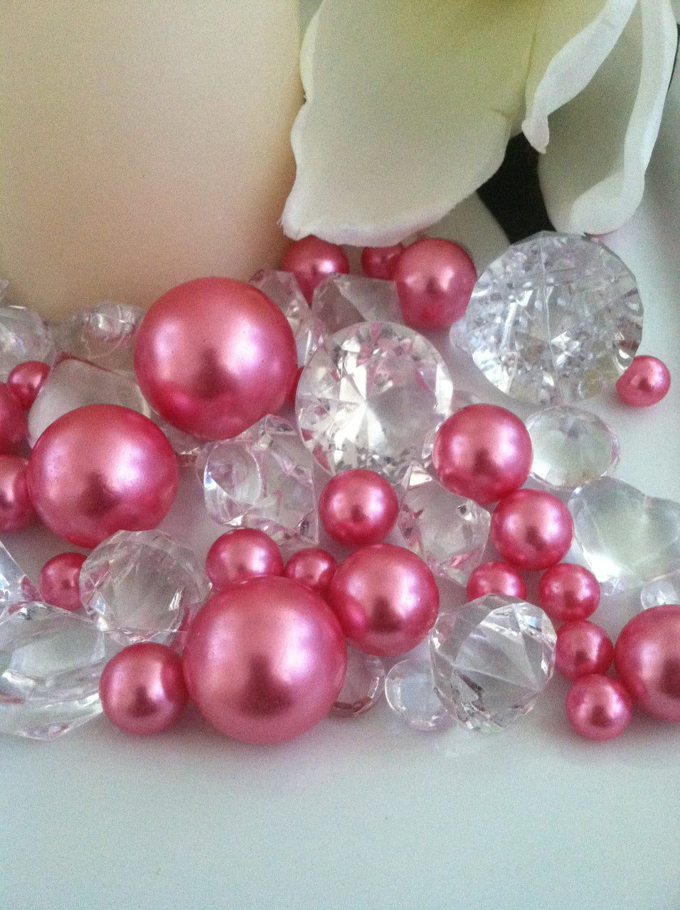 Pearl and Diamond Table Scatter/Confetti, 80pcs Pink Pearls & Clear Diamond Gem Mix, Vase Fillers