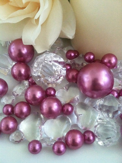 80 Orchid Purple Pearl & Clear Diamond Gems Table Scatter, Vase Filler Diamonds & Pearls