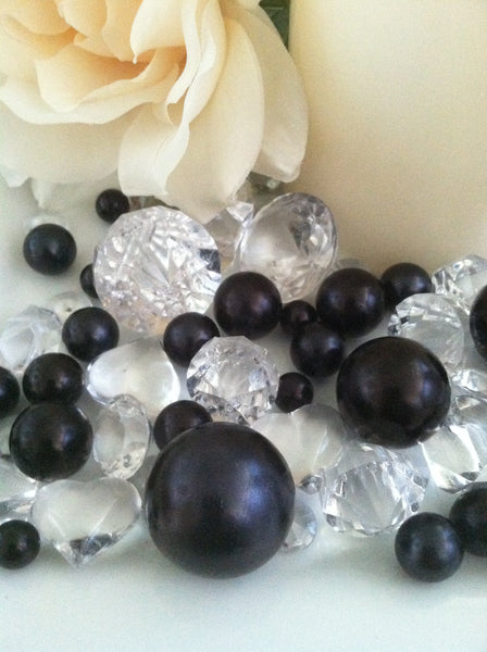 80 Black Pearl & Clear Diamond Gems Table Scatter, Vase Filler Diamonds & Pearls