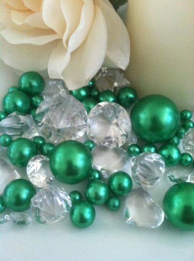 Emeral green pearls diamonds vase fillers, table scatters, bowl fillers