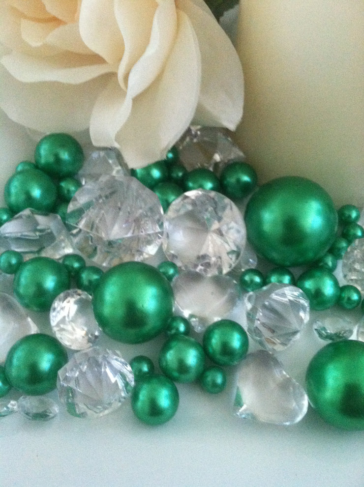 80pc Shamrock Green Pearl & Clear Diamond Gems Table Scatter, Vase Filler Diamonds & Pearls