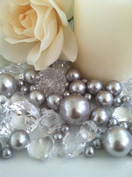 Pearl and Diamond Table Scatter/Confetti, 80pc Light Silver Pearls & Clear Diamond Gem Mix, Vase Fillers