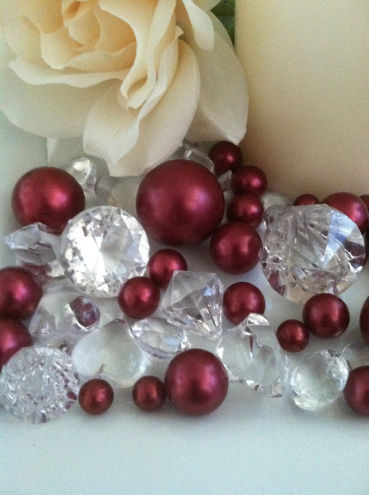 80 Burgundy Pearl & Clear Diamond Gems Table Scatter, Vase Filler Diamonds & Pearls
