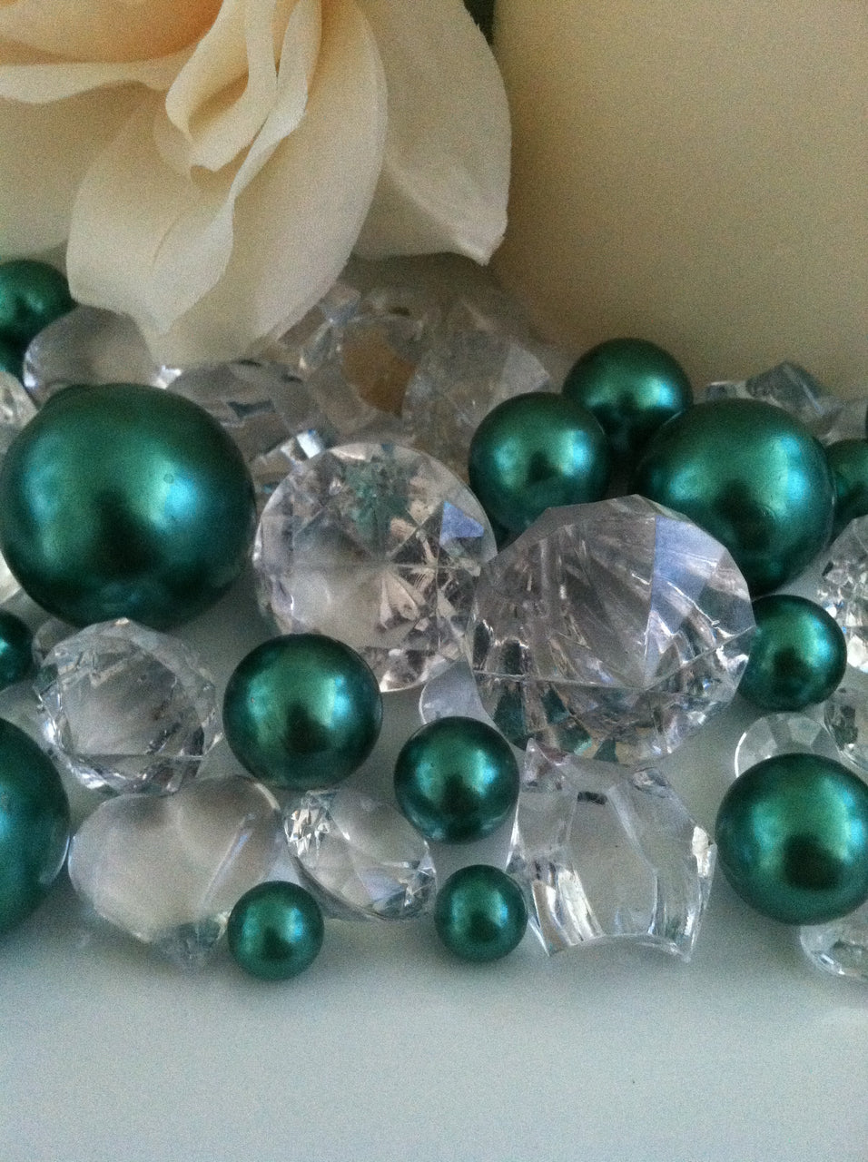 Pearl and Diamond Table Scatter/Confetti, 80pcs Green Pearls & Clear Diamond Gem Mix, Vase Fillers
