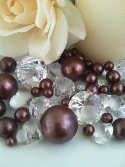 80pc Chocolate Brown Pearl & Clear Diamond Gems Table Scatter, Vase Filler Diamonds & Pearls