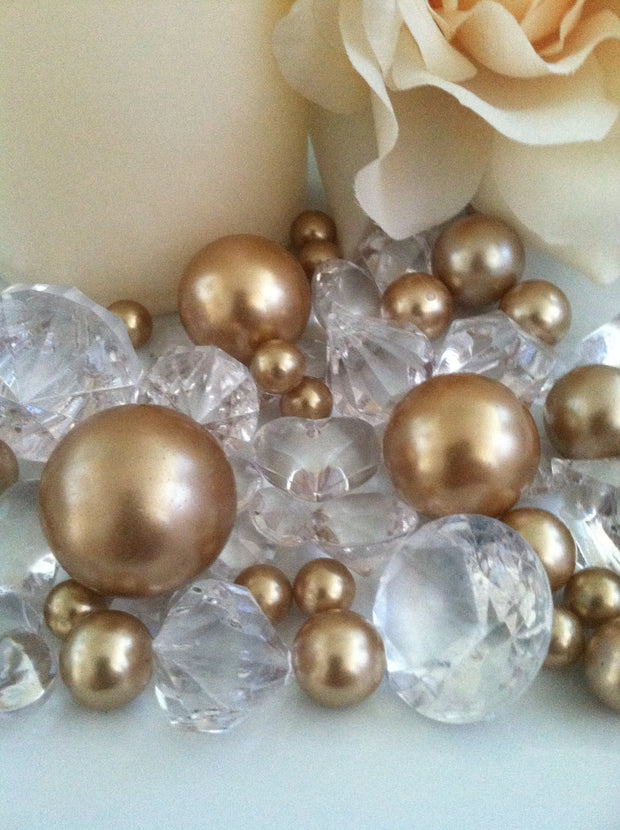 Champagne Pearls diamond vase fillers, table scatter confetti