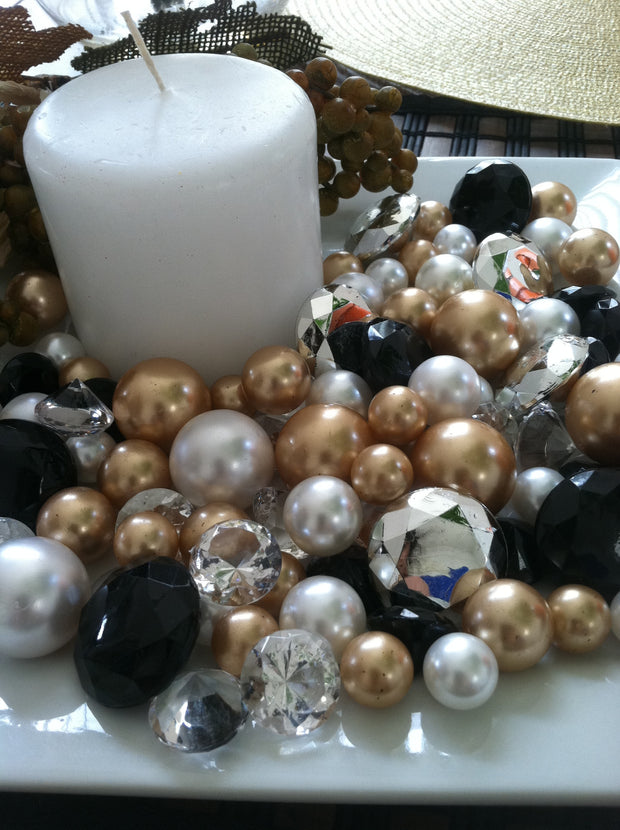 80pc Diamonds And Pearl Gem Mix Holiday Bowl/Vase Fillers (Black, Gold Brown, Silver, White)
