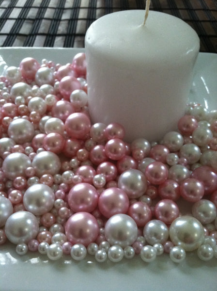 Light Pink And White Pearls No Holes Vase Fillers/Floating Pearl Centerpieces (375pc mix)